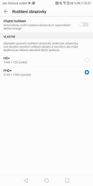 Huawei P smart screenshot - změna rozlišení