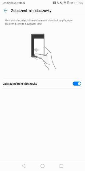 Huawei P smart screenshot - režim pro ovládání jednou rukou