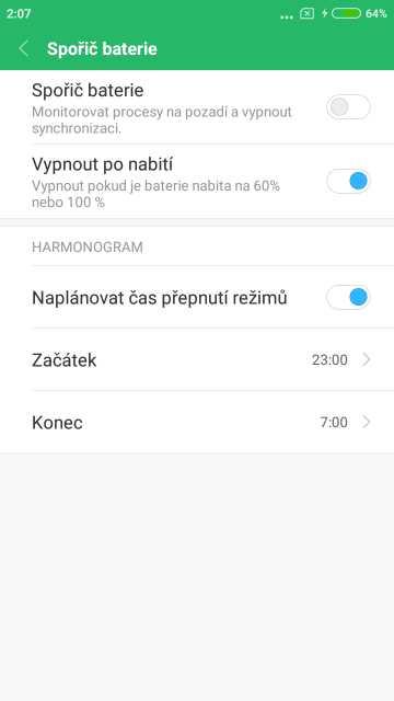 Xiaomi Redmi Note 5A, screenshot, spořič baterie