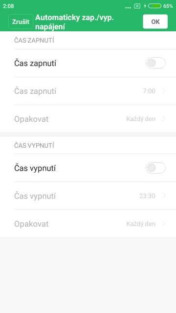 Xiaomi Redmi Note 5A, screenshot, automatické vypnutí