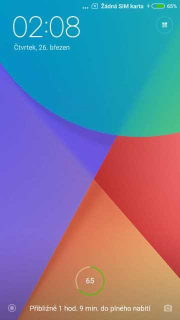 Xiaomi Redmi Note 5A, screenshot, zamčená obrazovka