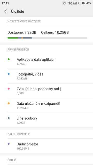 Xiaomi Redmi Note 5A, screenshot, paměť