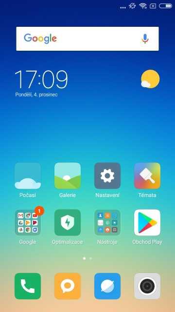Xiaomi Redmi Note 5A, screenshot, domovská obrazovka