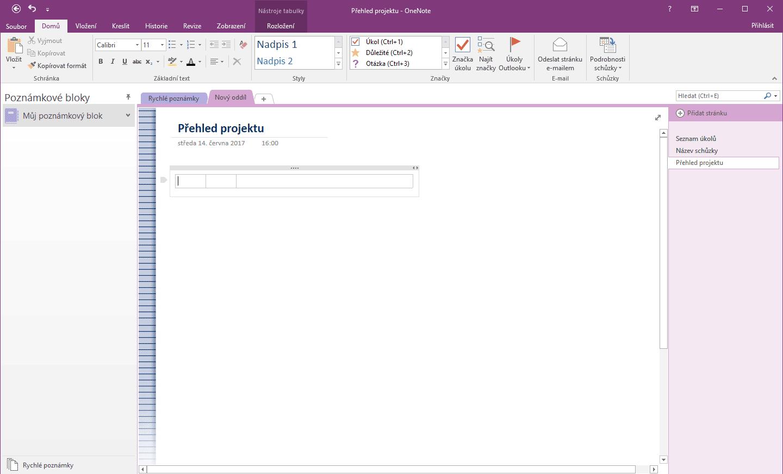 Rozhraní programu Microsoft OneNote