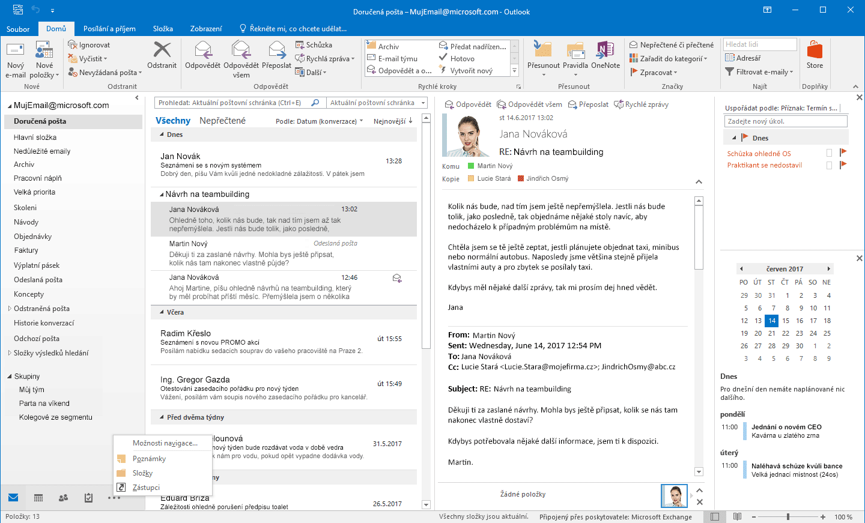 Rozhraní programu Microsoft Outlook