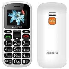 Aligator A321 Senior White + stolní nabíječka - Mobilní telefon