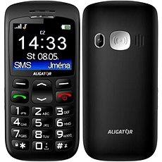 Aligator A670 Senior Black + Stolní nabíječka - Mobilní telefon