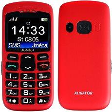 Aligator A670 Senior Red + Stolní nabíječka - Mobilní telefon