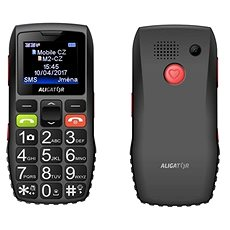 Aligator A440 Senior černo-šedý + Stolní nabíječka - Mobilní telefon
