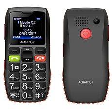 Aligator A440 Senior černo-oranžový + Stolní nabíječka - Mobilní telefon