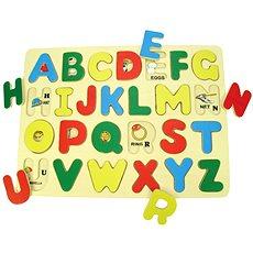 Dřevěné vkládací puzzle - Anglická abeceda s obrázky - Puzzle