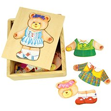 Dřevěné oblékací puzzle v krabičce - Paní Medvědice - Puzzle