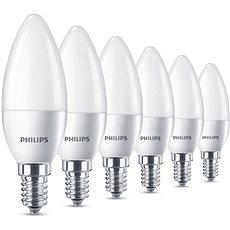 Philips LED Svíčka 5.5-40W, E14, 2700K, matná, set 6ks - LED žárovka