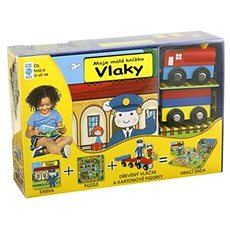 Vlaky Moje malá knížka BOX: Kniha + puzzle + vláček a figurky 4ks + hrací sada - Kniha