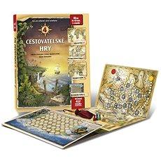 4 cestovatelské hry: Leporelo her s kostkou, figurkami a žetony, pro zábavné učení zeměpisu - Kniha