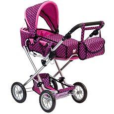 Bino Velký kočárek s taškou růžovo/černý - Kočárek pro panenky