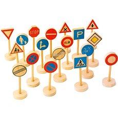 Dřevěné dětské dopravní značky velké - Herní set