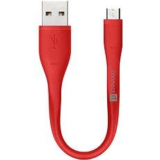 CONNECT IT Wirez Micro USB červený, 0.13m - Datový kabel