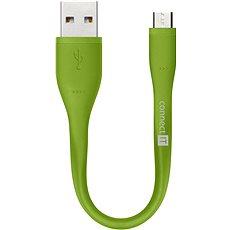 CONNECT IT Wirez Micro USB zelený, 0.13m - Datový kabel
