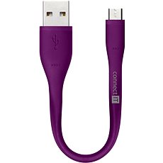 CONNECT IT Wirez Micro USB fialový, 0.13m - Datový kabel