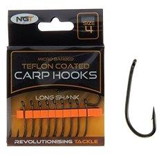 NGT Teflon Hooks Long Shank Velikost 8 10ks - Háček