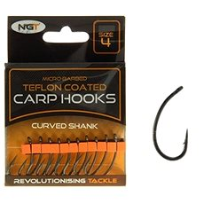 NGT Teflon Hooks Curved Shank Velikost 4 10ks - Háček