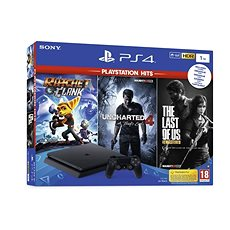 PlayStation 4 Slim 1TB + 3 hry (The Last Of Us, Uncharted 4, Ratchet and Clank) - Herní konzole