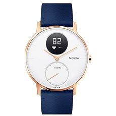 Nokia Steel HR (36mm) Rose Gold/Blue Leather/Grey Silicone wristband - Chytré hodinky