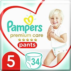 PAMPERS Pants Premium Care Junior vel. 5 (34 ks) - Plenkové kalhotky