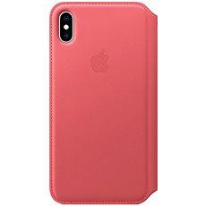 iPhone XS Kožené pouzdro Folio pivoňkově růžové - Pouzdro na mobilní telefon