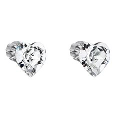 EVOLUTION GROUP Krystal náušnice srdce dekorované krystaly Swarovski 31139.1 (925/1000, 0,2 g) - Náušnice