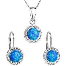 EVOLUTION GROUP 39160.1 modrý synt. opál souprava dekorovaná krystaly Swarovski® (925/1000, 2 g) - Dárková sada šperků