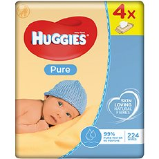 HUGGIES Pure Quatro Pack (4× 56 ks) - Dětské vlhčené ubrousky