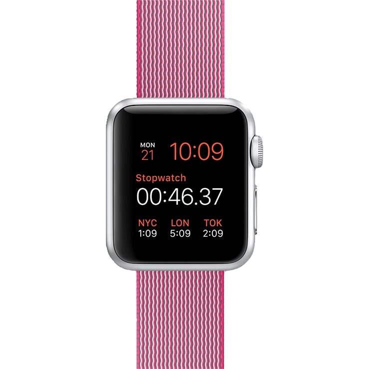 Apple Watch Sport 38mm Stříbrný hliník s růžovým řemínkem z tkaného nylonu - Chytré hodinky