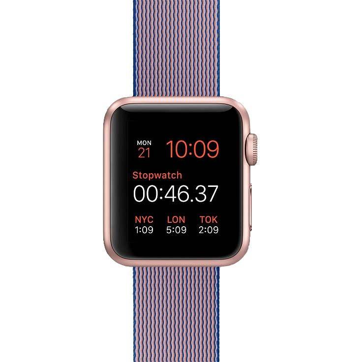 Apple Watch Sport 38mm Růžově zlatý hliník s královsky modrým řemínkem z tkaného nylonu - Chytré hodinky