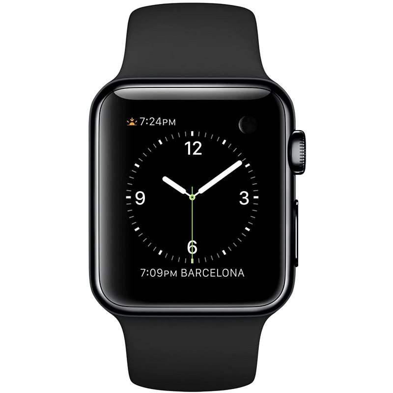 Apple Watch 38mm Vesmírně černá nerez ocel s černým řemínkem - Chytré hodinky