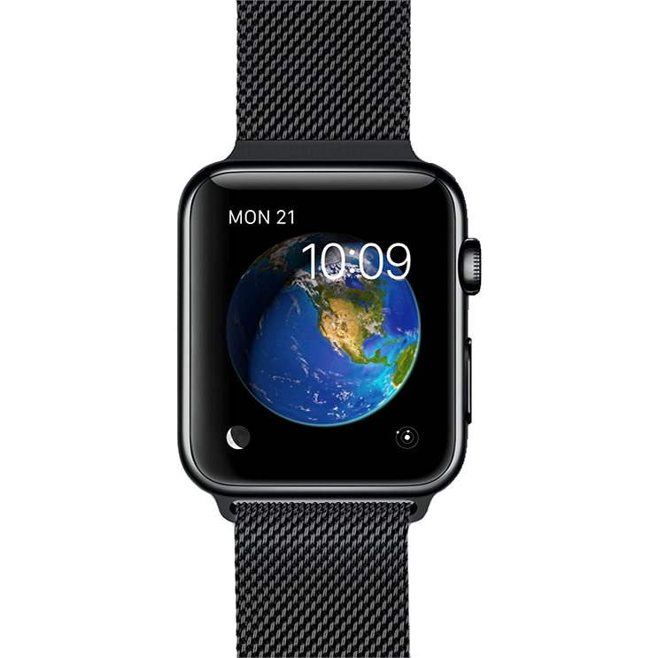 Apple Watch 38mm Vesmírně černá nerez ocel s vesmírně černým milánským tahem - Chytré hodinky