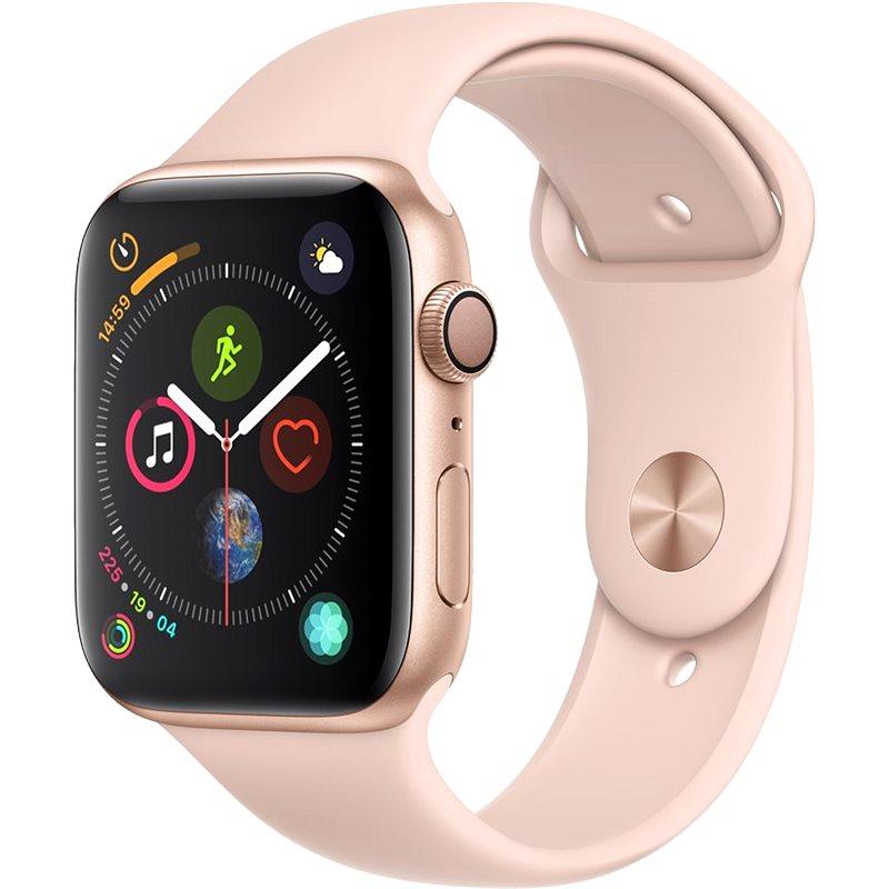 Apple Watch Series 4 44mm Zlatý hliník s pískově růžovým sportovním řemínkem - Chytré hodinky