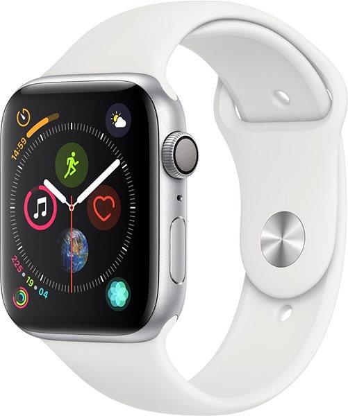 Apple Watch Series 4 44mm Stříbrný hliník s bílým sportovním řemínkem - Chytré hodinky