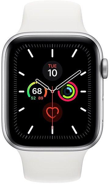 Apple Watch Series 5 44mm Stříbrný hliník s bílým sportovním řemínkem - Chytré hodinky