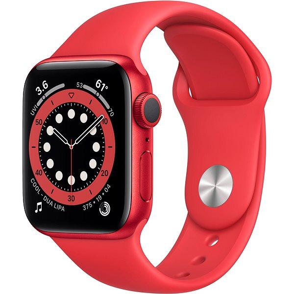 Apple Watch Series 6 40mm Červený hliník s červeným sportovním řemínkem - Chytré hodinky