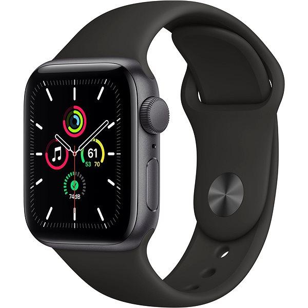 Apple Watch SE 44mm Vesmírně černý hliník s černým sportovním řemínkem - Chytré hodinky
