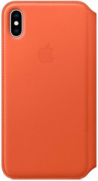 Apple iPhone XS Max Kožené pouzdro Folio temně oranžové - Pouzdro na mobil