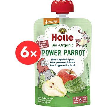 HOLLE Power Parrot  BIO pyré hruška  jablko a špenát 6× 100 g - Příkrm
