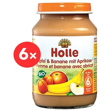HOLLE BIO Jablko a banán s meruňkami 6× 190 g - Příkrm
