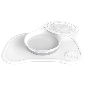 TWISTSHAKE Protiskluzová Podložka Click Mat + talíř 6m+ Bílá - Dětská jídelní sada