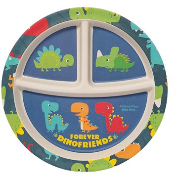ZOPA Bambusový dělený talířek s přísavkou Dino - Talíř