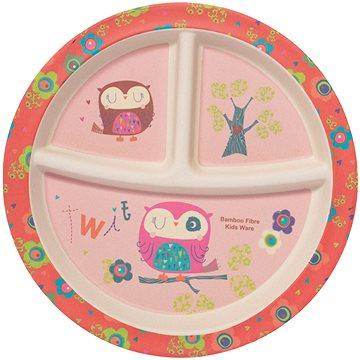 ZOPA Bambusový dělený talířek s přísavkou Owl - Talíř