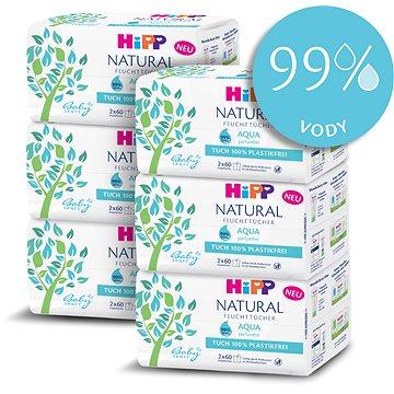 HiPP Babysanft Aqua Natural 6× (2× 60 ks) - Dětské vlhčené ubrousky