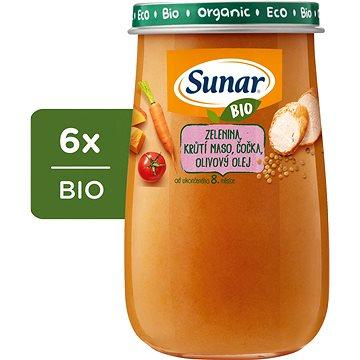 Sunar BIO Zelenina, krůtí maso, čočka, olivový olej 6× 190 g - Příkrm
